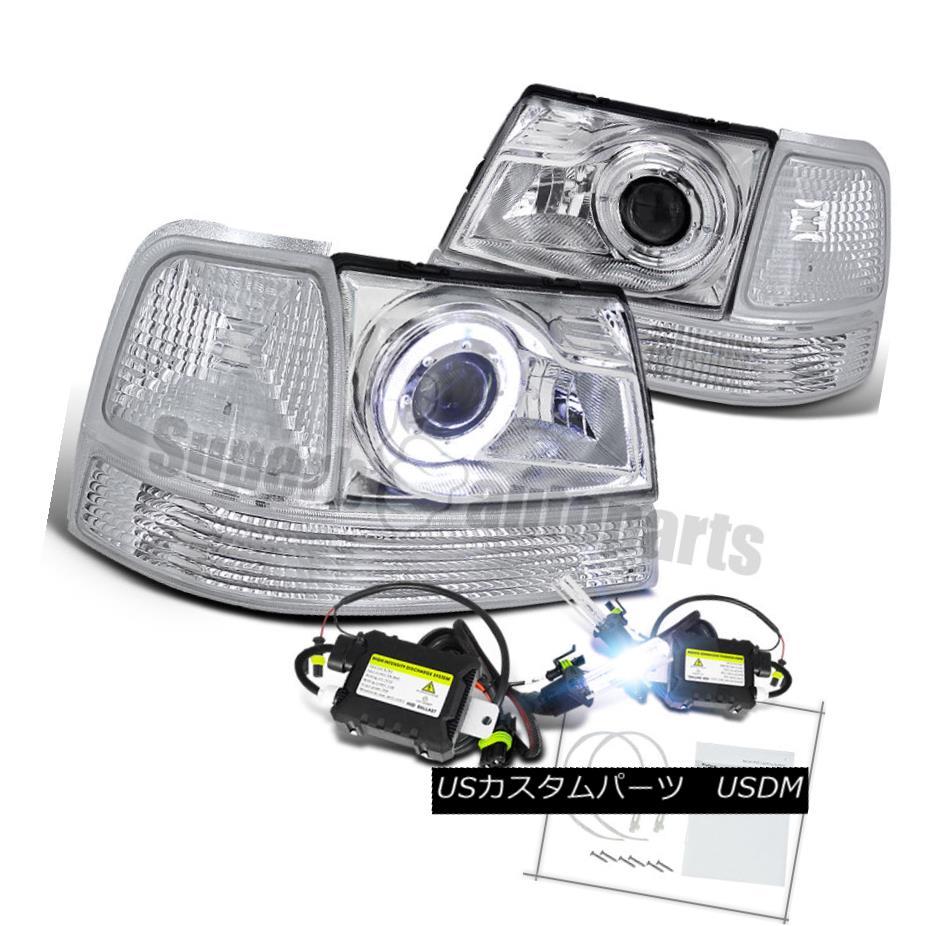 ヘッドライト 1998-2000 Ford Ranger Halo Projector Headlights+Corner Lamps Clear+H1 Slim HID 1998?2000年フォードレンジャーハロープロジェクターヘッドライト+ Cor  nerランプクリア+ H1スリムHID