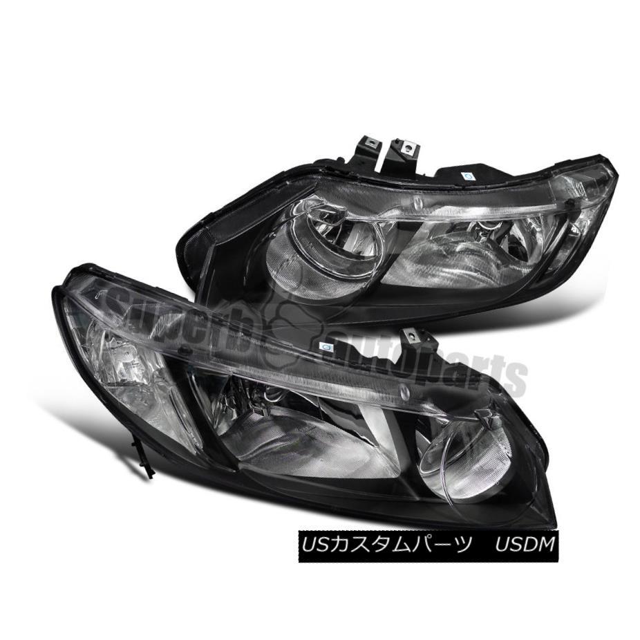 ヘッドライト For 2006-2011 Honda Civic 4dr JDM Style Headlights Black w/ Clear Reflector 2006?2011年ホンダシビック4dr JDMスタイルヘッドライトブラック/クリアリフレクター