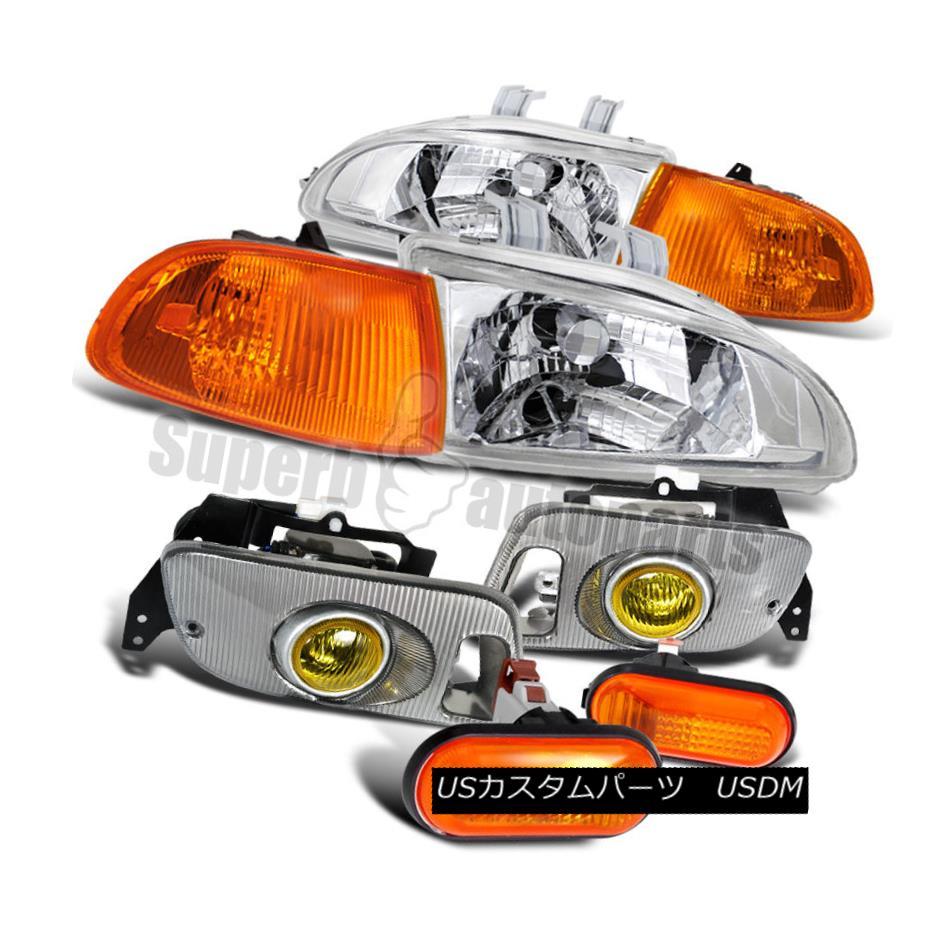 ヘッドライト For 92-95 Civic Headlight Clear+Amber Corner+Dome Side Markers+Yellow Fog Lamp 92-95シビックヘッドライトクリア+アンバーコーナー+ドームサイドマーカー+イエローフォグランプ