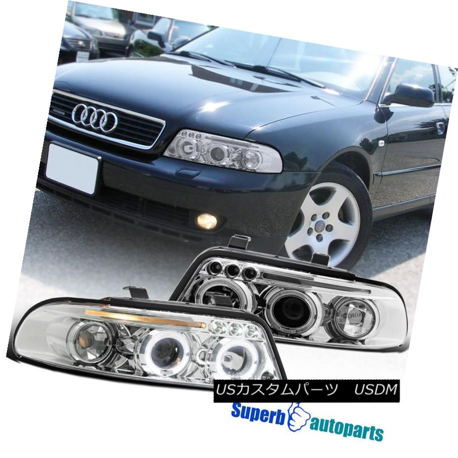 ヘッドライト 1999-2001 Audi A4 Dual Halo Led Clear Projector Headlights Chrome SpecD Tuning 1999-2001 Audi A4 Dual Halo Led ClearプロジェクターヘッドライトChrome SpecD Tuning