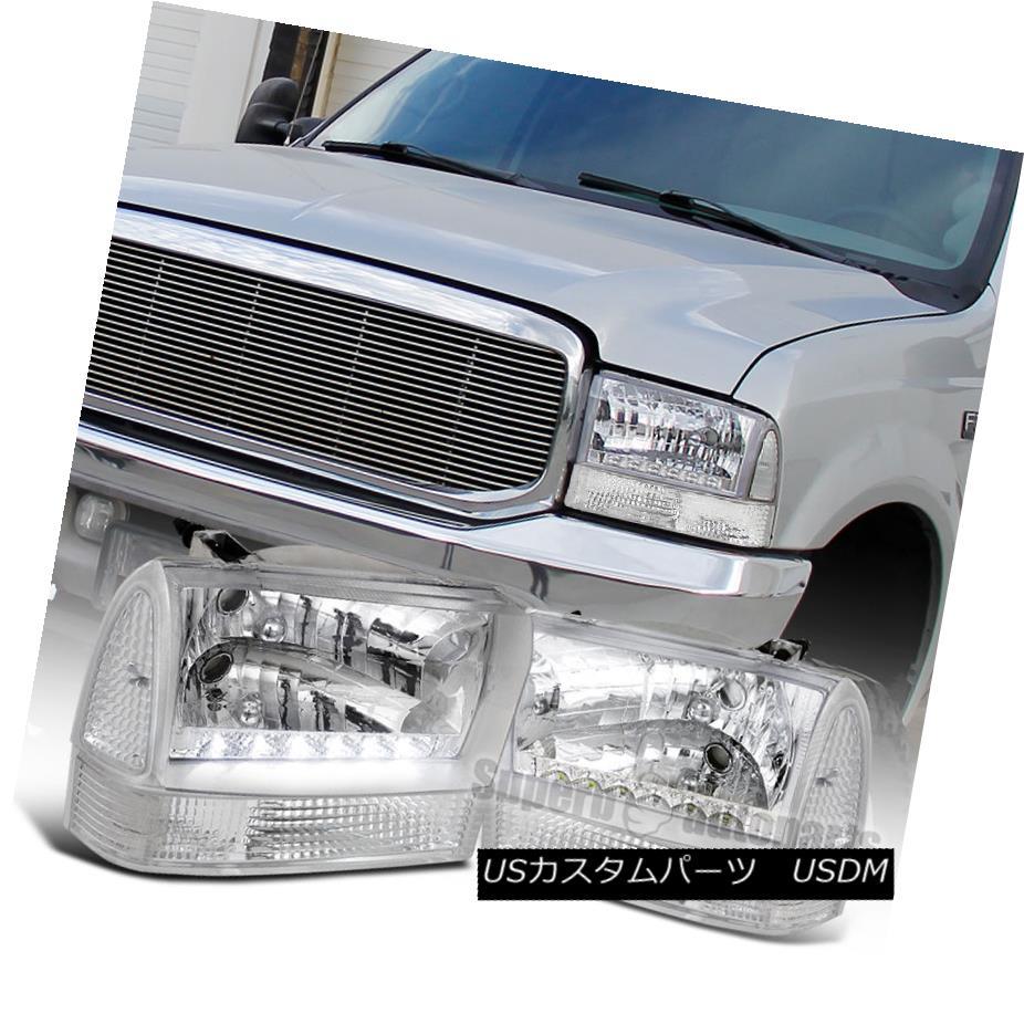 ヘッドライト 1999-2004 F250 F350 F450 F550 LED Headlights Clear+Corner Lamps Clear Reflector 1999-2004 F250 F350 F450 F550 LEDヘッドライトクリア+コーナーランプクリアリフレクター
