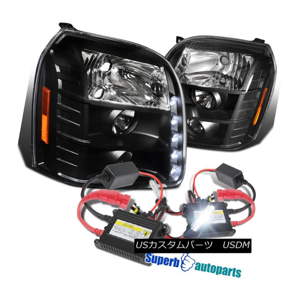 ヘッドライト 2007-2012 GMC Yukon Denali XL LED Projector Headlights Black+H1 Slim HID Kit 2007-2012 GMC Yukon Denali XL LEDプロジェクターヘッドライトブラック+ H1スリムHIDキット