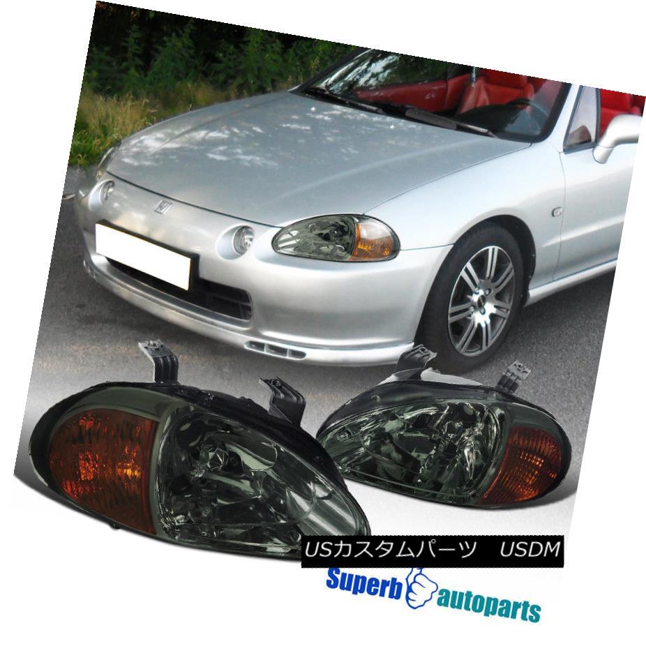 ヘッドライト for 1993-1997 Honda Del Sol JDM Smoke Headlight Head Lamps+Amber Reflector 1993-1997 Honda Del Sol JDMスモークヘッドライトヘッドランプ+アンバーリフレクター