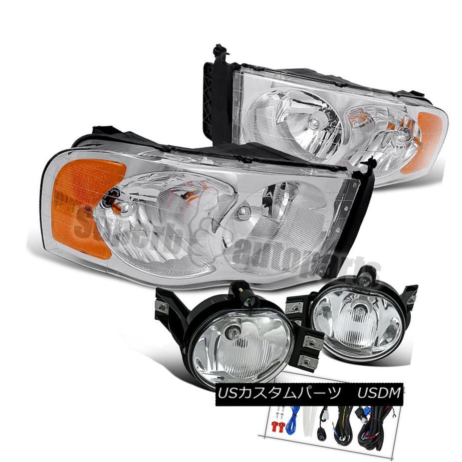 ヘッドライト 2002-2005 Dodge Ram Crystal Headlights Chrome+Bumper Fog Lamps Clear 2002-2005ダッジラムクリスタルヘッドライトクローム+バンパーフォグランプクリア