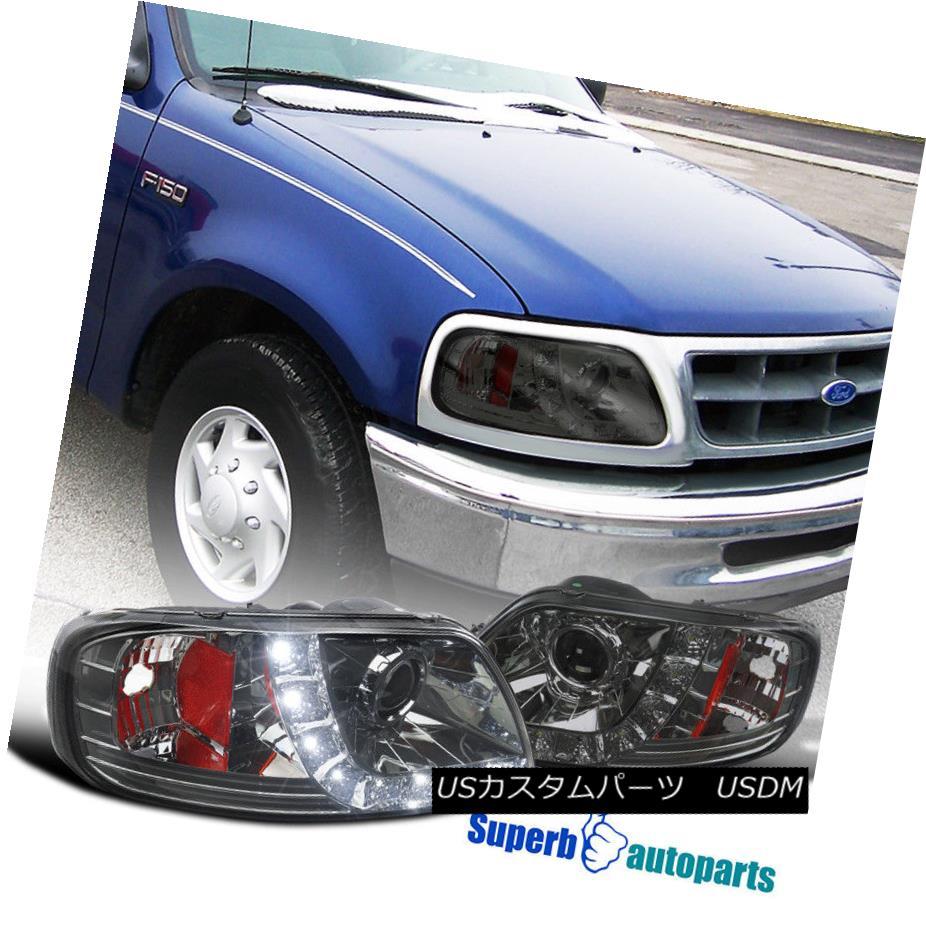 ヘッドライト 97-03 Ford F150 Expedition Smoke Projector Headlights w/ LED DRL Lamps 97-03フォードF150遠征煙プロジェクターヘッドライトLED DRLランプ