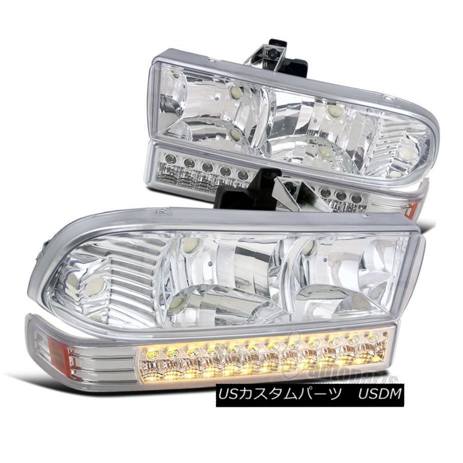 ヘッドライト 1998-2004 Chevy S10 Blazer Crystal Headlights Chrome+LED Signal Bumper Lights 1998-2004 Chevy S10 Blazerクリスタルヘッドライトクローム+ LEDシグナルバンパーライト