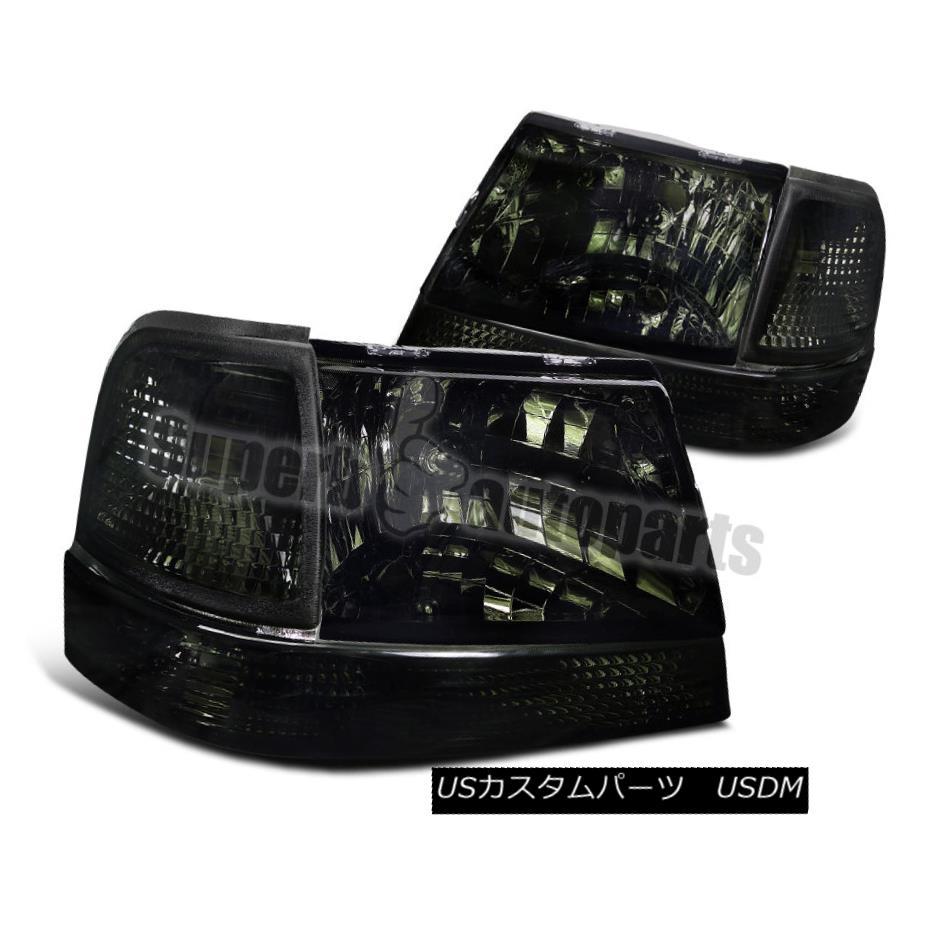 ヘッドライト 1998-2000 Ford Ranger Smoke Crystal Headlights+Corner Signal Bumper Lights 1998-2000フォードレンジャースモーククリスタルヘッドライト+ Cor  nerシグナルバンパーライト