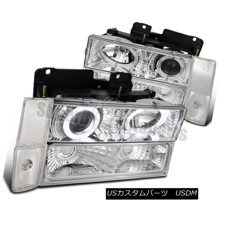 ヘッドライト 1988-1993 Chevy GMC C10 C/K Halo Projector LED Headlights+Corner Lamps Clear 1988-1993 Chevy GMC C10 C / K HaloプロジェクターLEDヘッドライト+ Cor  nerランプクリア