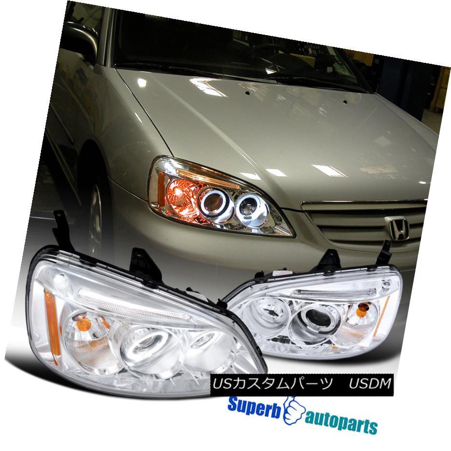 ヘッドライト For 2001-2003 Honda Civic JDM Projector Headlights Head Lamps Clear SpecD Tuning 2001?2003年ホンダシビックJDMプロジェクターヘッドライトヘッドランプクリア仕様チューニング