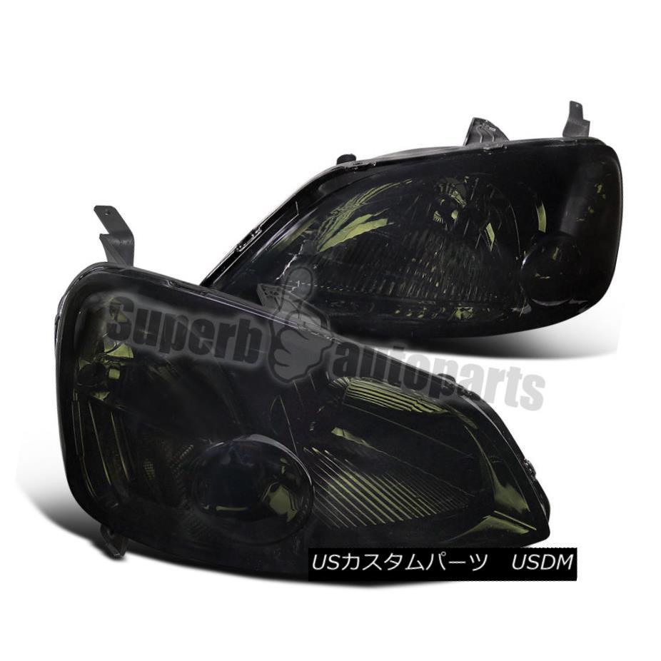 ヘッドライト For 2001-2003 Honda Civic 2/4D Crystal Headlights Head Lamps Smoke Lens 2001 - 2003年ホンダシビック2 / 4Dクリスタルヘッドライトヘッドランプスモークレンズ用