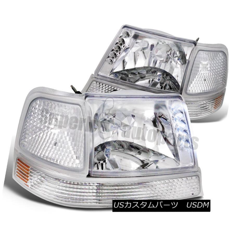 ヘッドライト 1998-2000 Ford Ranger LED Head Lights+Signal+Parking Chrome/ Clear 1998-2000フォードレンジャーLEDヘッドライト+信号+ パーキングクローム/クリア