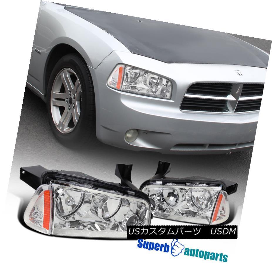 ヘッドライト 06-10 Dodge Charger Euro Replacement Chrome Headlights w/ Corner Signal Lamps 06-10ダッジチャージャーユーロ交換クロムヘッドライト/コーナー信号ランプ