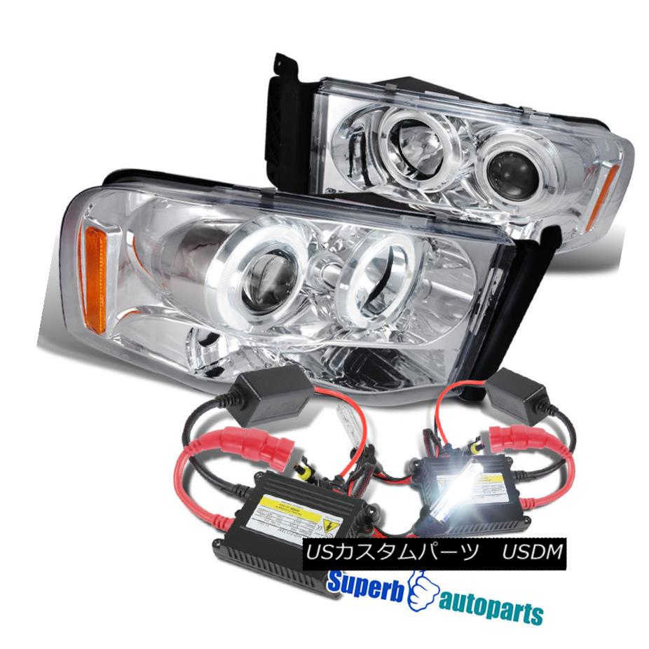 ヘッドライト 2002-2005 Dodge Ram Halo LED Projector Headlights Chrome+H1 Slim HID Kit 2002-2005 Dodge Ram Halo LEDプロジェクターヘッドライトChrome + H1スリムHIDキット