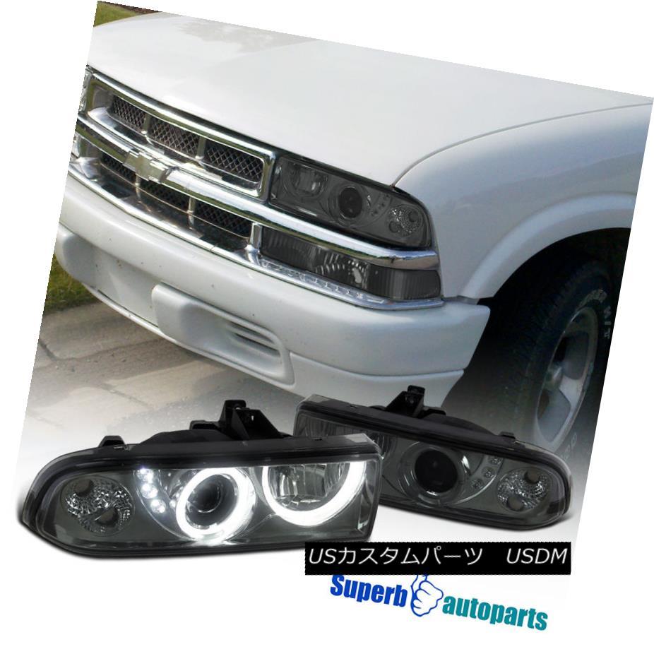 ヘッドライト 1998-2004 Chevy S10 Pickup Blazer SMD LED Dual Halo Projector Headlights Smoke 1998-2004シボレーS10ピックアップブレザーSMD LEDデュアルハロープロジェクターヘッドライトスモーク