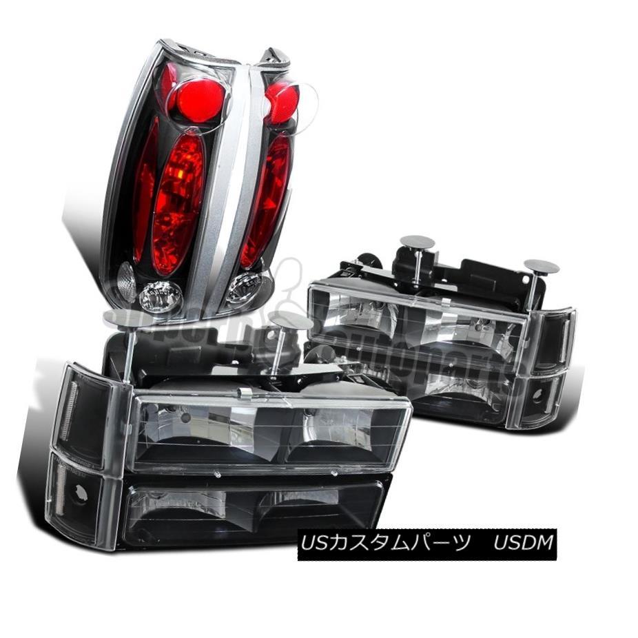 ヘッドライト 94-98 GMC Sierra Black Clear Headlights Bumper Corner Lights+Tail Lights+Clear 94-98 GMC Sierra Blackクリアヘッドライトバンパーコーナーライト+テールライト+クリア