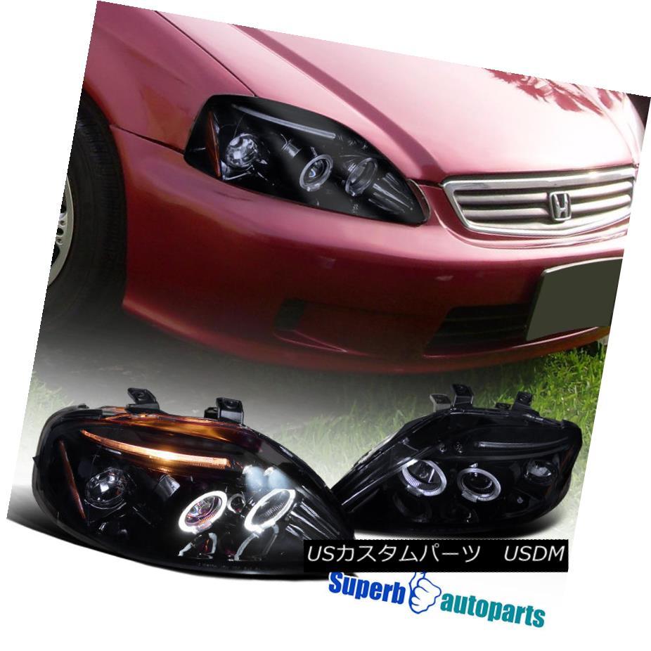 ヘッドライト For 1999-2000 Honda Civic Dual Halo Led Projector Headlight Glossy Black / Smoke 1999-2000 Honda CivicデュアルハローLedプロジェクターヘッドライト光沢ブラック/スモーク