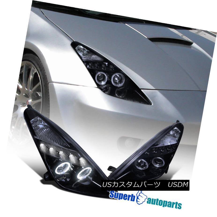 ヘッドライト 2000-2005 Toyota Celica Halo Led Smoke Projector Headlights Glossy Black SpecD 2000-2005トヨタCelica Halo Led SmokeプロジェクターヘッドライトGlossy Black SpecD
