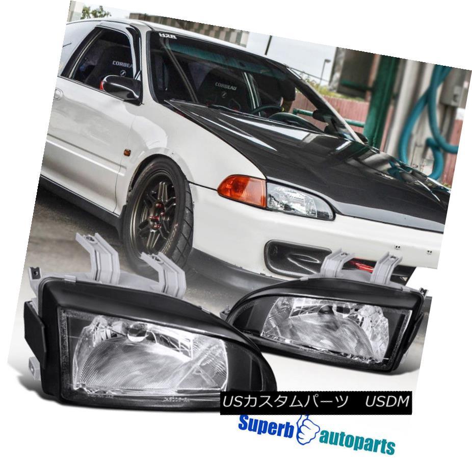 ヘッドライト For 1992-1995 Honda Civic Crystal Headlights Head Lamps Black 1992?1995年ホンダシビッククリスタルヘッドライトヘッドランプブラック