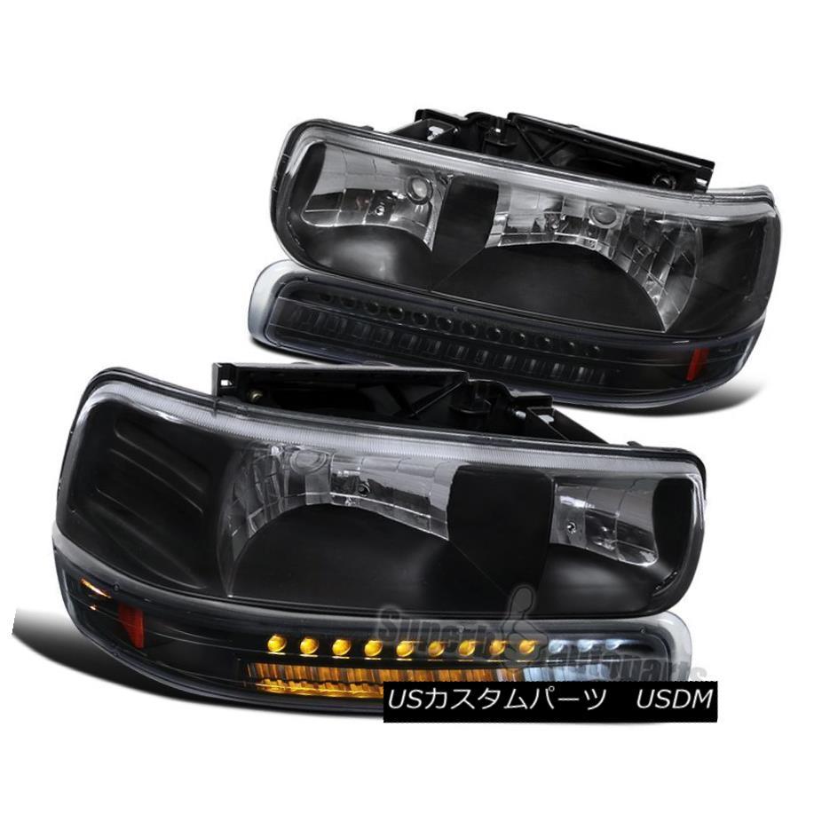 ヘッドライト 2000-2006 Chevy Tahoe Suburban Black Euro Headlight+LED Bumper Signal Lamps 2000-2006シボレータホ郊外のブラックユーロヘッドライト+ LEDバンパーシグナルランプ