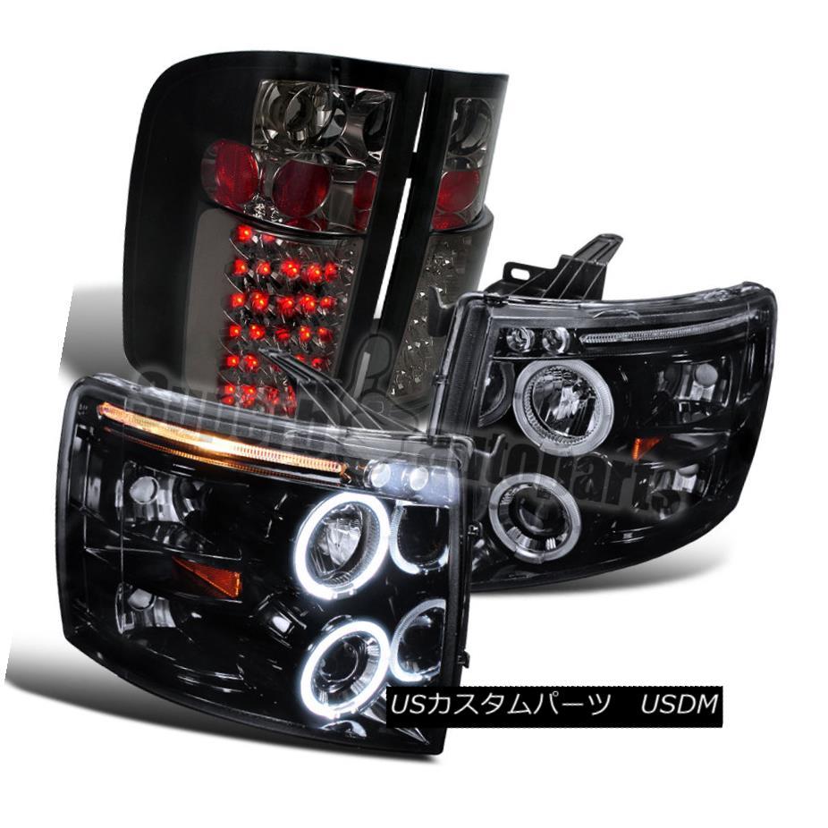 ヘッドライト 2007-2014 Silverado Glossy Black Halo Projector Headlight+LED Tail Lamp Smoke 2007-2014 Silverado Glossy Black Haloプロジェクターヘッドライト+ LEDテールランプ煙