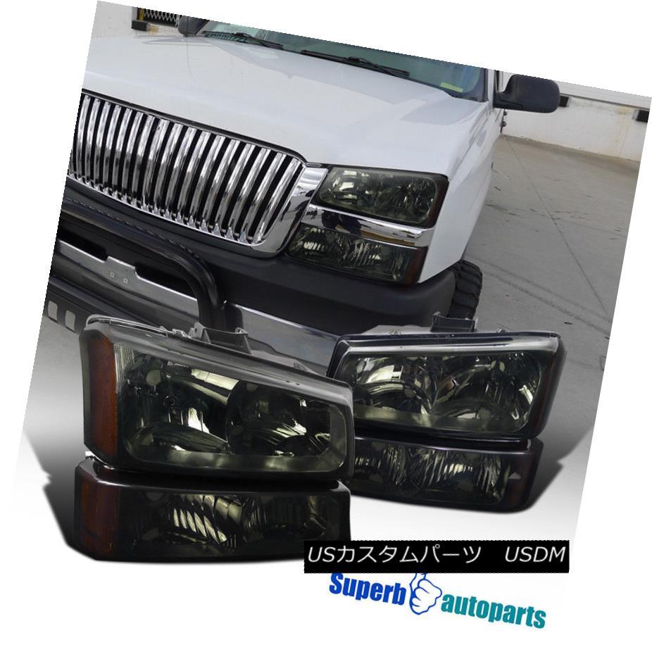 ヘッドライト 2003-2007 Chevy Silverado Headlight Smoke +Bumper Lamps w/ Clear Reflector 2003-2007シボレーシルバラードヘッドライト煙+クリアリフレクター付バンパーランプ