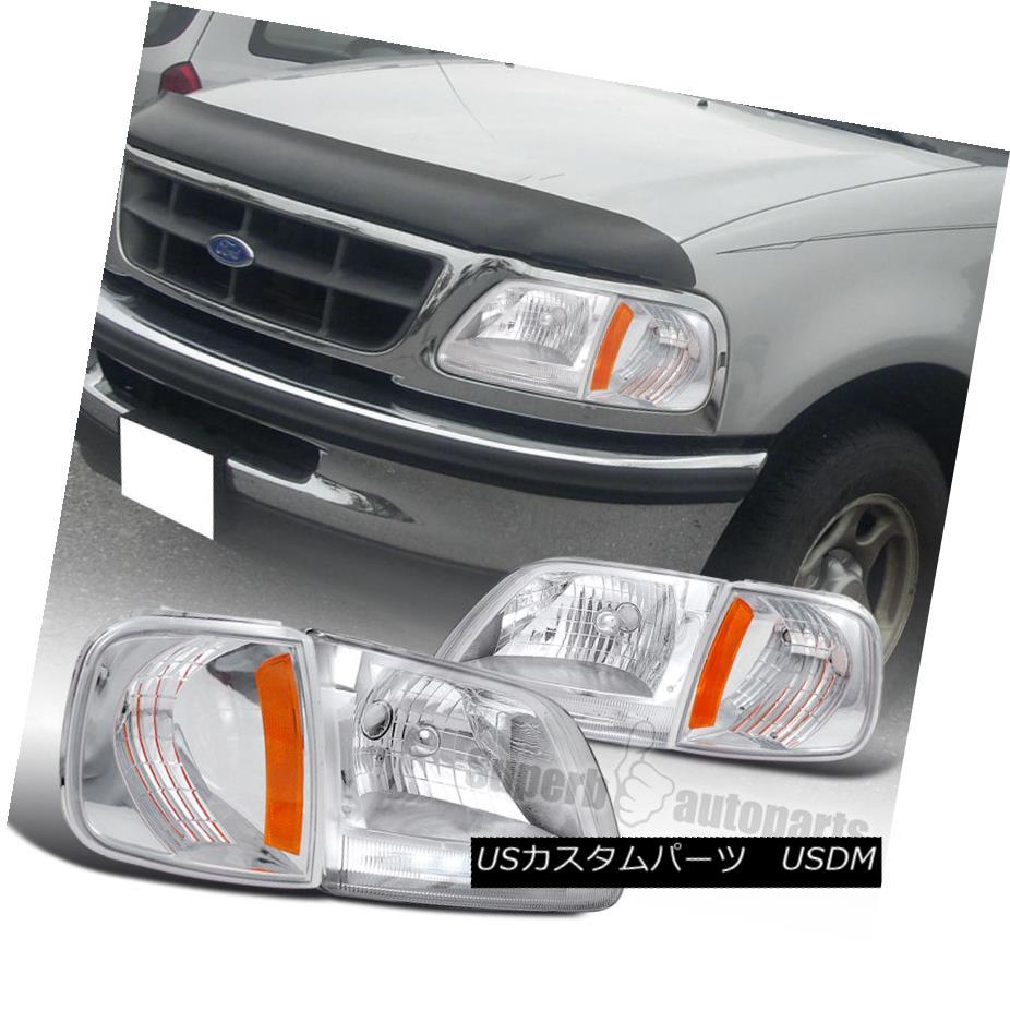 ヘッドライト 1997-2003 Ford F150 LED Clear Head Lights+Corner Turn Signal Lamps Chrome 1997-2003フォードF150 LEDクリアヘッドライト+コーナーターンシグナルランプクローム