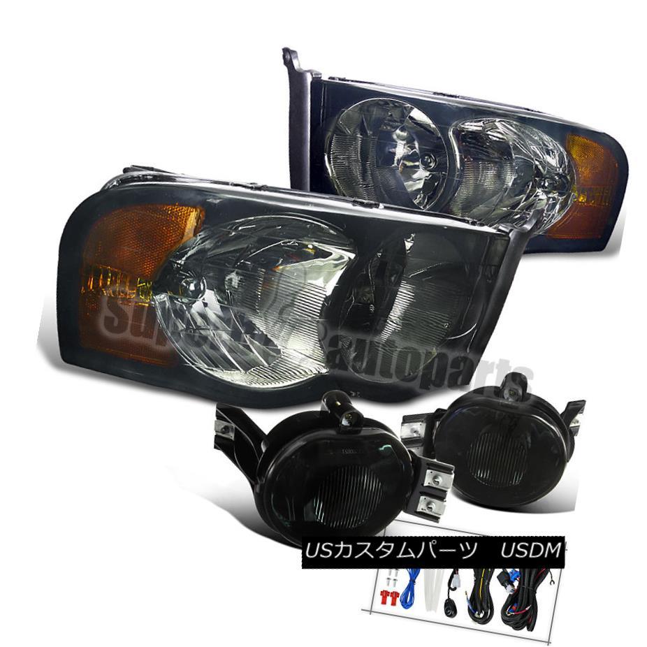 ヘッドライト 2002-2005 Dodge Ram Euro Crystal Headlights+Driving Fog Lamps Smoke 2002-2005 Dodge Ram Euroクリスタルヘッドライト+ドライ