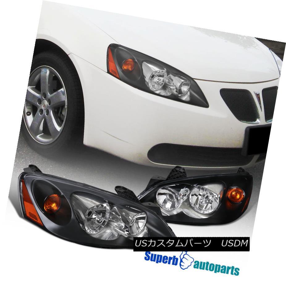 ヘッドライト 05-10 Pontiac G6 Black Headlights Replacement Turn Signal Head Lamps Pair 05-10ポンティアックG6ブラックヘッドライト交換ターンシグナルヘッドランプペア