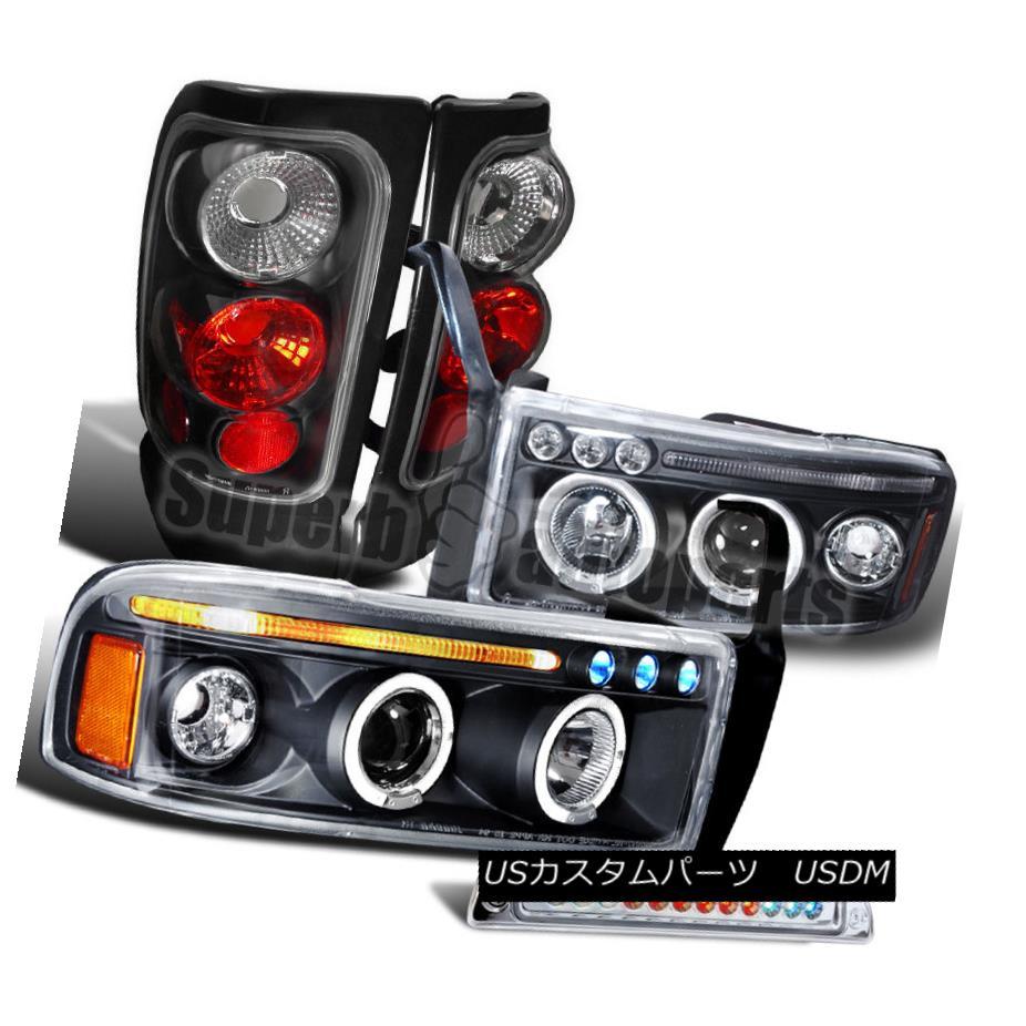 ヘッドライト 1994-2001 Dodge Ram Black LED Halo Projector Headlights+Tail Lamp+3rd Brake Lamp 1994-2001ダッジラムブラックLEDハロープロジェクターヘッドライト+タイ lランプ+第3ブレーキランプ