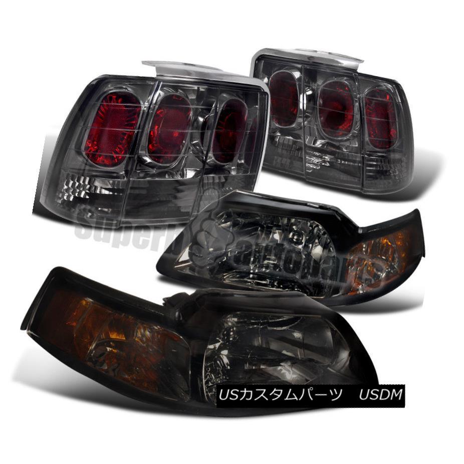 ヘッドライト 1999-2004 Ford Mustang Headlights W/Corner Lamps+ Tail Brake Lamps Smoke 1999-2004フォードマスタングヘッドライトW /コーナーランプ+テールブレーキランプスモーク