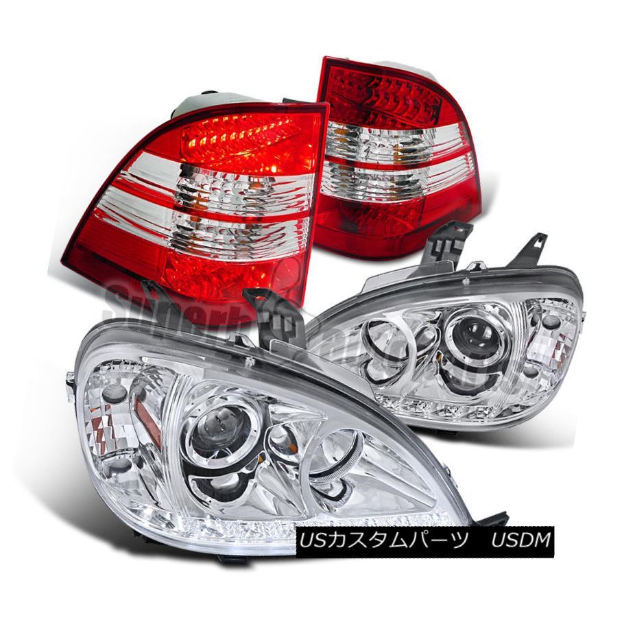 ヘッドライト 2002-2005 W163 ML320 ML500 SMD LED Projector Headlights Chrome+Red Tail Lights 2002-2005 W163 ML320 ML500 SMD LEDプロジェクターヘッドライトクローム+レッドテールライト