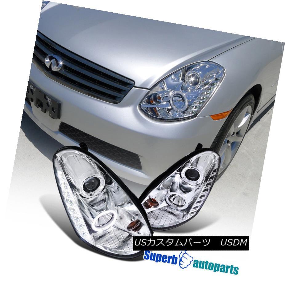 ヘッドライト For 2005-2006 G35 4D Sedan Halo LED DRL Projector Headlights Lamps Clear 2005-2006 G35用4DセダンハローLED DRLプロジェクターヘッドライトランプクリア