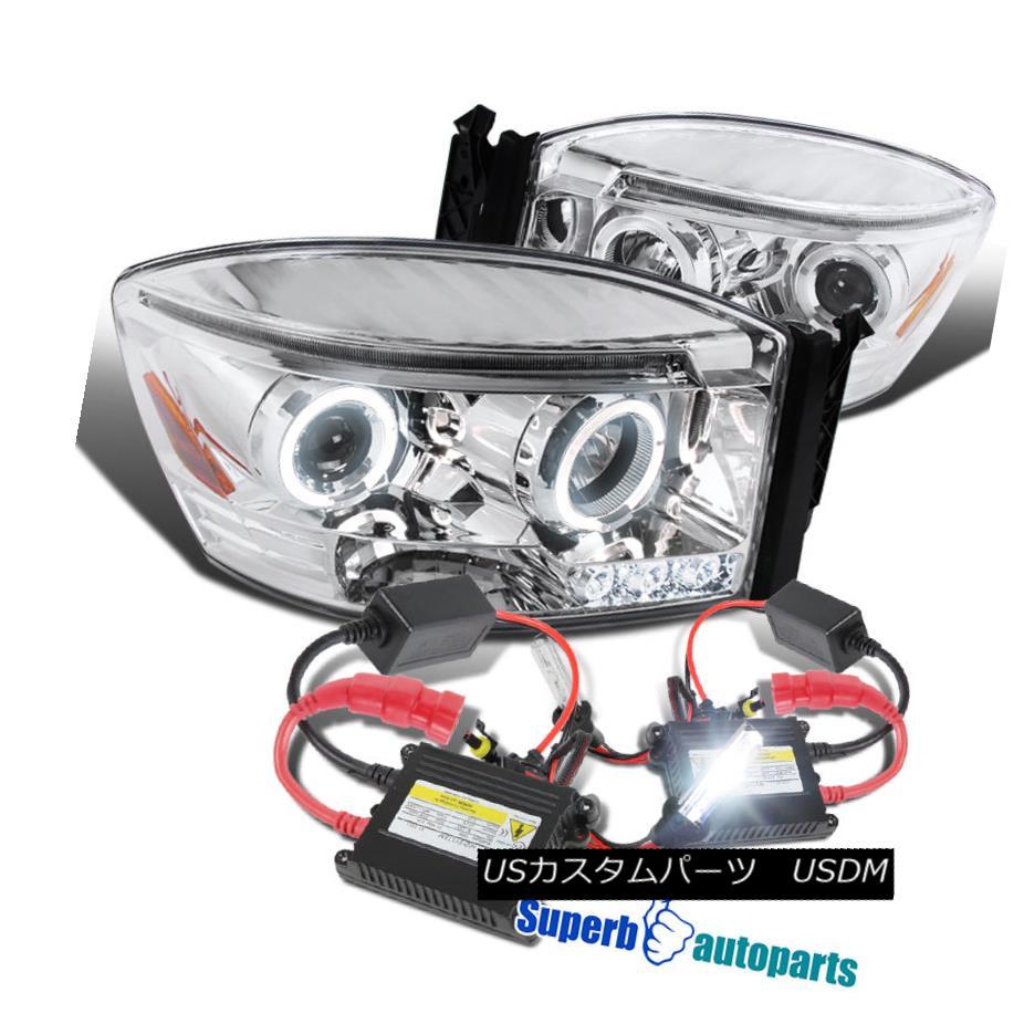 ヘッドライト 2006-2008 Dodge Ram 1500 2500 3500 Halo Projector Headlights Clear+H1 Slim HID 2006-2008 Dodge Ram 1500 2500 3500 HaloプロジェクターヘッドライトClear + H1 Slim HID