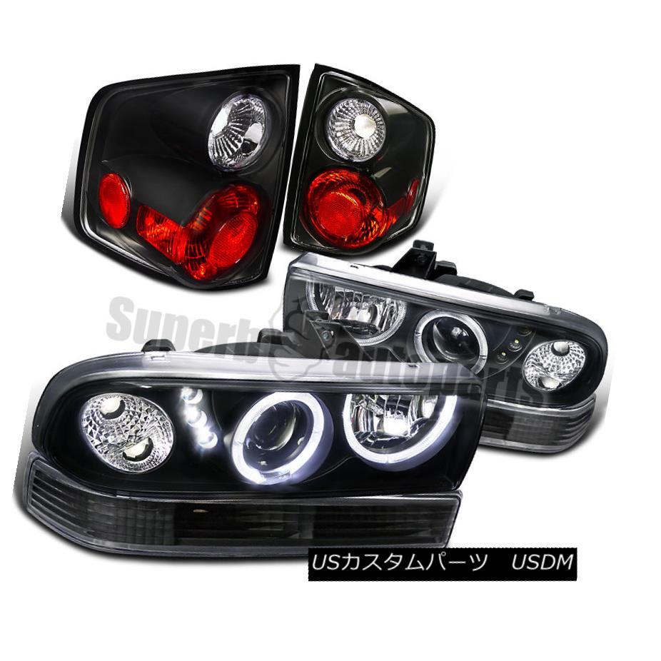 ヘッドライト 1998-2004 S10 SMD LED Halo Projector Headlights+Bumper Lamps+Tail Lights Black 1998-2004 S10 SMD LEDハロープロジェクターヘッドライト+バーン 、ランプ+テールライトブラック