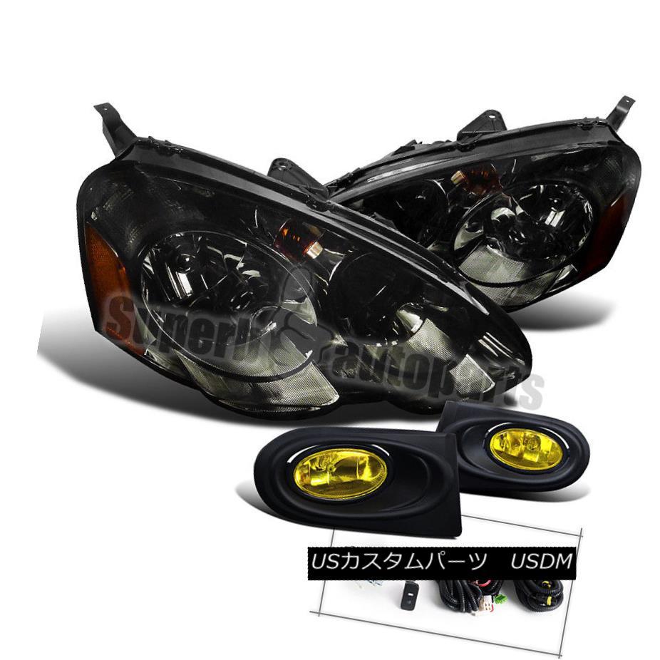 ヘッドライト 2002-2004 Acura RSX Diamond JDM Smoke Headlights+Type-S Yellow Driving Fog Lamps 2002-2004アキュラRSXダイヤモンドJDMスモークヘッドライト+ Typ  e-Sイエロードライビングフォグランプ