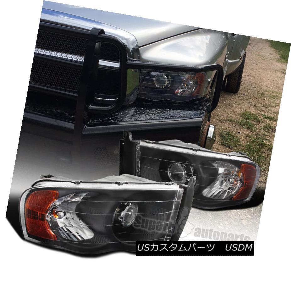 ヘッドライト Dodge Ram 02-05 1500 03-05 2500/3500 Black Projector Headlights+Amber Reflector Dodge Ram 02-05 1500 03-05 2500/3500黒プロジェクターヘッドライト+ Amb 反射器