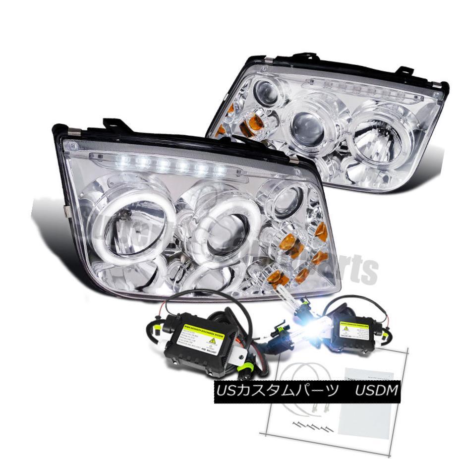 ヘッドライト For 1999-2004 Jetta LED Halo Projector Headlight W/Fog Lamps Chrome+H1 Slim HID 1999-2004 Jetta LED HaloプロジェクターヘッドライトW /フォグランプクローム+ H1スリムHID