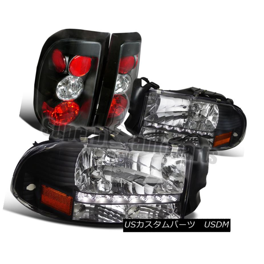 ヘッドライト 1997-2004 Dodge Dakota LED DRL Headlights+Tail Lights Brake Lamp Black 1997-2004 Dodge Dakota LED DRLヘッドライト+タイ lブレーキランプを点灯