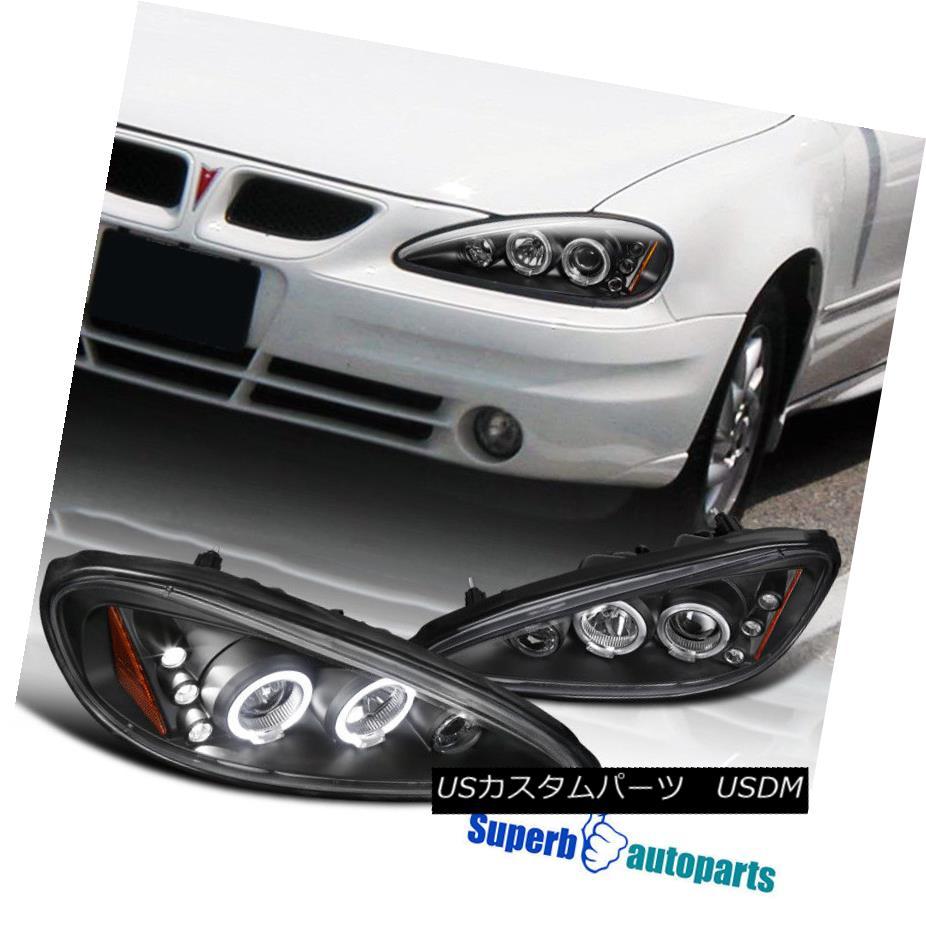 ヘッドライト 1999-2005 Pontiac Grand Am Halo LED Projector Headlights Black SpecD Tuning 1999-2005 Pontiac Grand Am Halo LEDプロジェクターヘッドライトブラックスペックチューニング