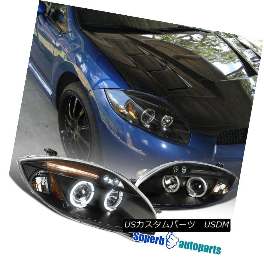 ヘッドライト 2006-2011 Mitsubishi Eclipse Halo LED Projector Headlights Black SpecD Tuning 2006-2011三菱Eclipse Halo LEDプロジェクターヘッドライトブラックスペックチューニング