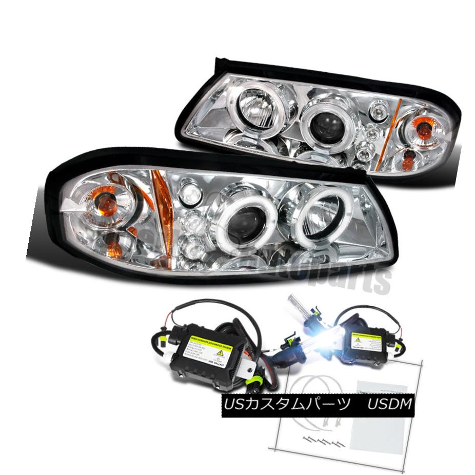 ヘッドライト 2000-2005 Chevy Impala Halo LED Projector Headlights Chrome/ Clear+H1 Slim HID 2000-2005シボレーインパラハローLEDプロジェクターヘッドライトクローム/クリア+ H1スリムHID