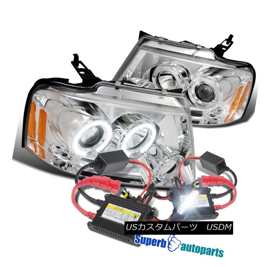 ヘッドライト 2004-2008 Ford F150 Halo LED Clear Projector Headlights Chrome+H1 Slim HID Kit 2004-2008 Ford F150 Halo LEDクリアプロジェクターヘッドライトChrome + H1スリムHIDキット