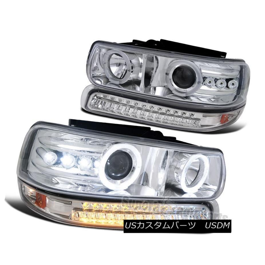 ヘッドライト 1999-2002 Silverado Chrome Dual Halo LED Projector Headlights +LED Bumper Lamps 1999-2002 Silverado Chrome Dual Halo LEDプロジェクターヘッドライト+ LEDバンパーランプ