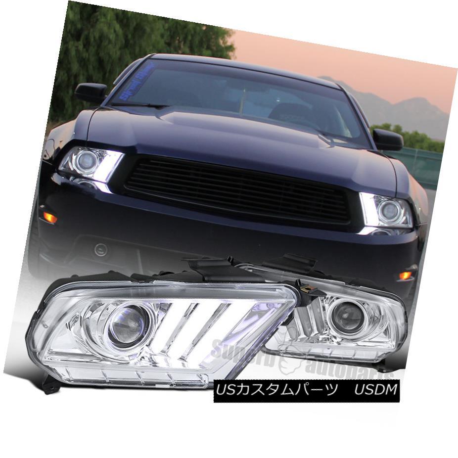 ヘッドライト 10-14 Chrome Clear Mustang Projector Headlights Hi-Tech Look SEQUENTIAL LED DRL 10-14クロムクリアムスタングプロジェクターヘッドライトハイテクル外観シーケンシャルLED DRL