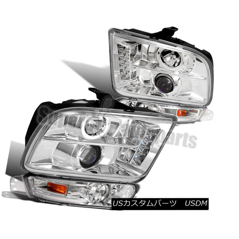 ヘッドライト 2005-2009 Ford Mustang Projector Headlights+Bumper Lights Replacement Pair 2005-2009フォードマスタングプロジェクターヘッドライト+ブーム :ライト交換ペア