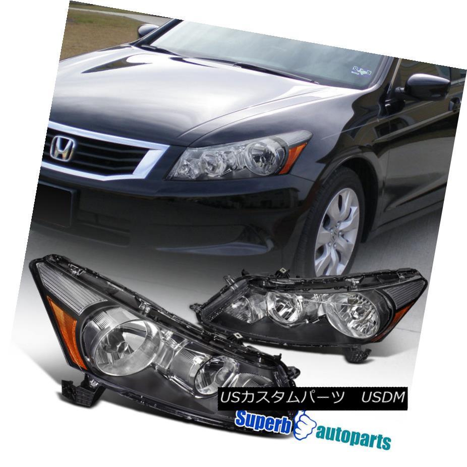 ヘッドライト For 2008-2012 Honda Accord 4Dr Seden Replacement Black Headlights Driving Lamps 2008?2012年ホンダアコード4Drセダン交換用ブラックヘッドライトドライビングランプ