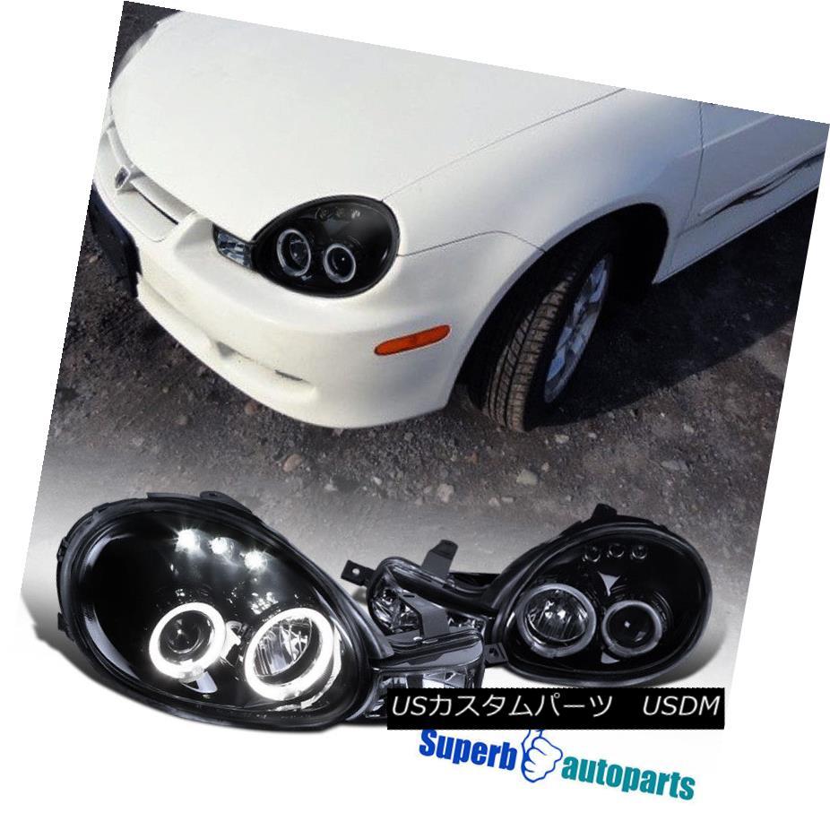 ヘッドライト 2000-2002 Dodge Neon Dual Halo LED Projector Smoked Headlight Glossy Black SpecD 2000-2002ドッジネオンデュアルヘイローLEDプロジェクタースモークヘッドライト光沢ブラックSpecD