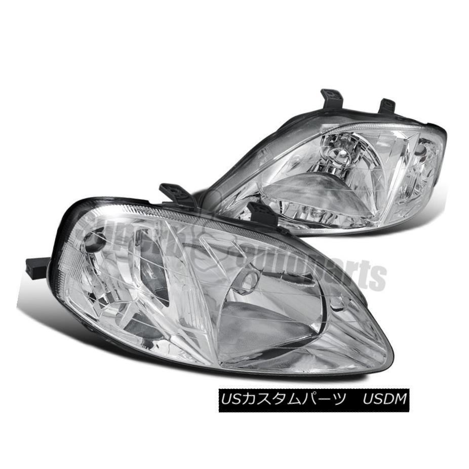 ヘッドライト For 1999-2000 Honda Civic JDM Headlights Head Lamps Chrome w/ Clear Reflector 1999-2000 Honda Civic JDMヘッドライトヘッドランプクローム/クリアリフレクター