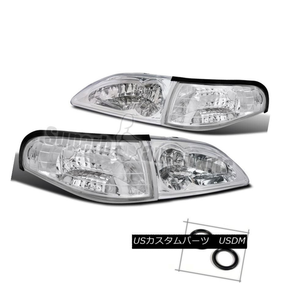 ヘッドライト 1994-1998 Ford Mustang Headlight w/ Clear reflector+Corner Signal Lamps Chrome 1994-1998フォードマスタングヘッドライト(クリアリフレクター+トウモロコシ) erシグナルランプクローム