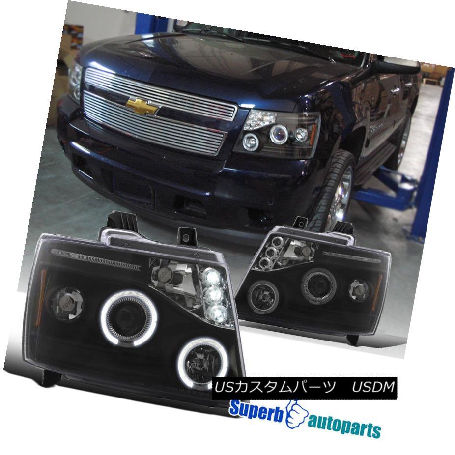 ヘッドライト 2007-2013 Chevy Avalanche Halo LED Projector Headlights Black SpecD Tuning 2007年?2013年シボレーアバランシェハローLEDプロジェクターヘッドライトブラックスペックチューニング